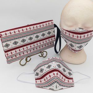 Form-Fitting Face Mask with matching Clutch Bag.